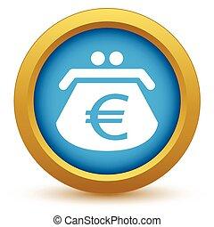 Gold euro purse icon