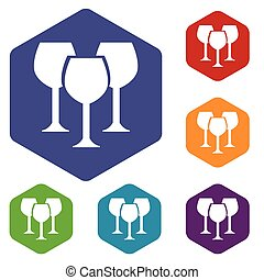 Stemware rhombus icons set in different colors Vector...