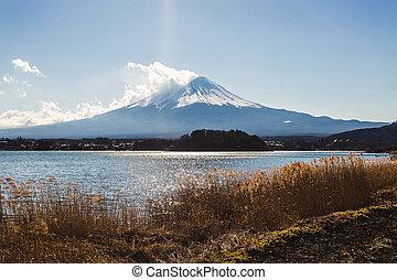 Fuji san view from the lake at Kawakuchiko