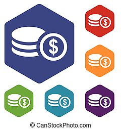 Money rhombus icons set in different colors Vector...