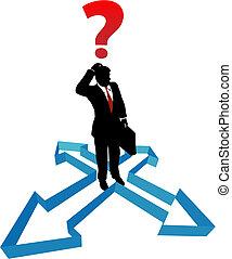homem negócios, direção, setas,  indécision, pergunta