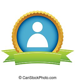 Gold user profile logo on a white background. Vector...