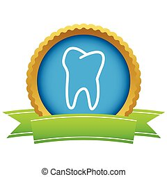 Gold tooth logo on a white background. Vector illustration