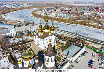 Aerial view on Holy Trinity Monastery - Tyumen, Russia -...