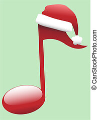 Carol Musical Note for Holiday Christmas Music - A red...