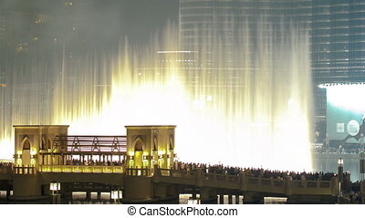 The bridge near the biggest musical fountain in Dubai, UAE...