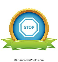 Gold stop logo on a white background. Vector illustration