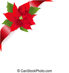 Red poinsettia - Page corner with red ribbon and poinsettia...