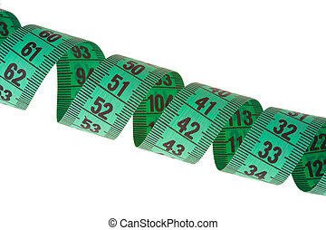 green measuring tape on white background