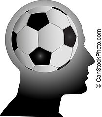 Fan head has football soccer in mind - A football soccer fan...