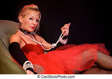 beautiful actress as madam - Beautiful blonde laying on...