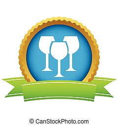 Gold stemware logo on a white background Vector illustration...