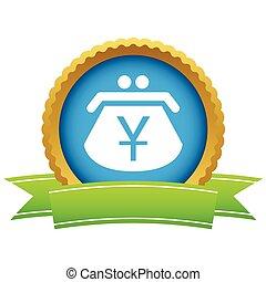 Gold yen purse logo