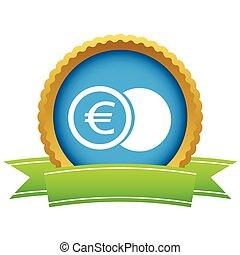 Gold euro coin logo