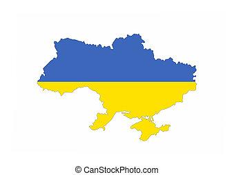 Ucrania, mapa, bandera