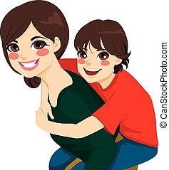 Son And Mom Piggyback Ride - Beautiful brunette young mom...