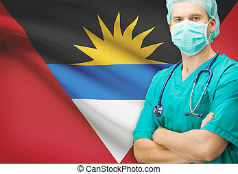 Surgeon with national flag on background series - Antigua...