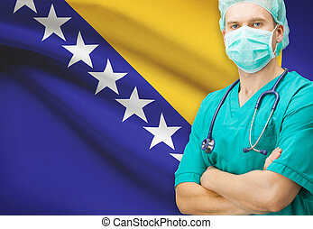 Surgeon with national flag on background series - Bosnia and...