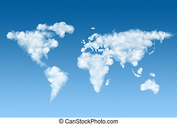 world map made of white clouds on sky - world map made of...