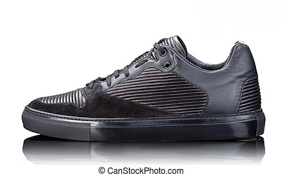 black male leather sneakers isolated on white