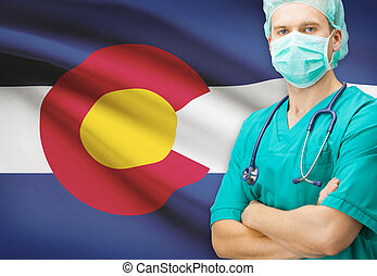 Surgeon with US state flag on background series - Colorado