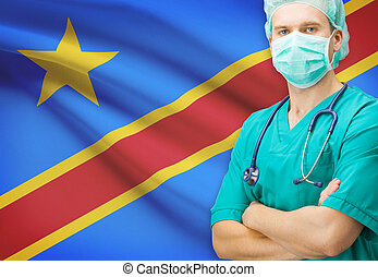 Surgeon with national flag on background series - Democratic...