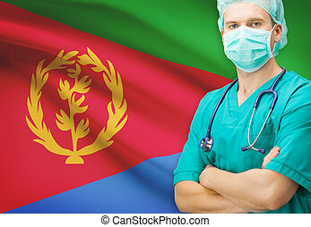 Surgeon with national flag on background series - Eritrea -...