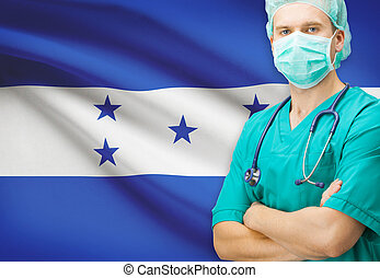 Surgeon with national flag on background series - Honduras -...