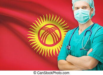 Surgeon with national flag on background series - Kyrgyzstan...
