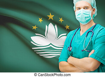 Surgeon with national flag on background series - Macau -...