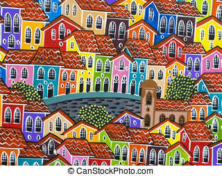 Painting of Pelourinho in Salvador - Colorful painting of...