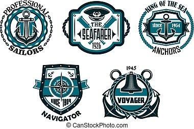 Nautical retro blue emblems with maritime symbols