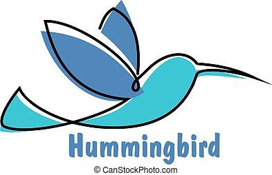 Blue soaring hummingbird or colibri symbol - Soaring...