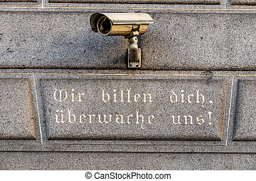 vigilancia, cámara, en, Un, edificio,
