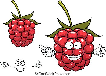 Joyful red raspberry fruit character