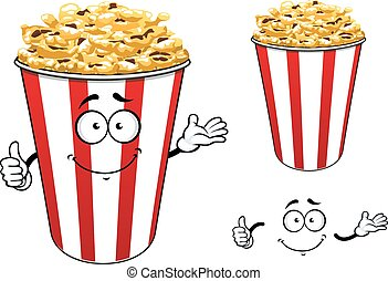 Striped red paper bucket of popcorn cartoon character -...