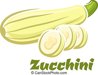 Cartoon whole and sliced fresh zucchini vegetable - Fresh...