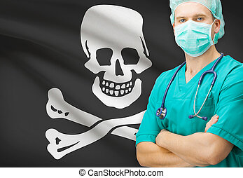 Surgeon with flag on background series - Jolly Roger -...