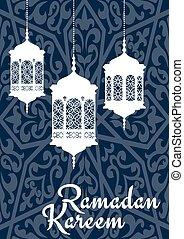 Ramadan Kareem greeting card with oriental lanterns