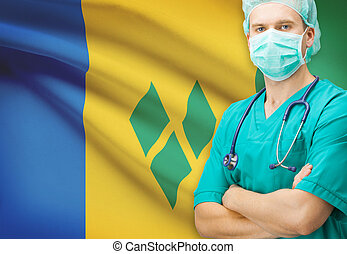 Surgeon with national flag on background series - Saint...