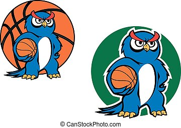 Cartoon blue owl character with basketball ball