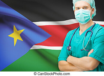 Surgeon with national flag on background series - South...