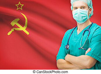 Surgeon with national flag on background series - Union of...