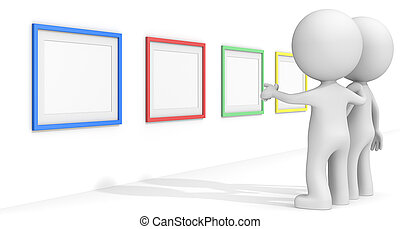 SEO. - The dude 3D characters pointing at Colorful Frames.