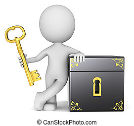 The key keeper. - The dude 3D character holding Golden Key...