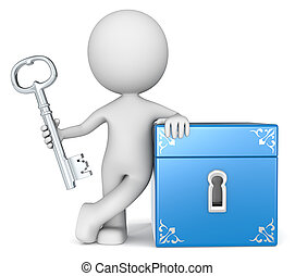 Opportunity. - The dude 3D character holding Key to Closed...