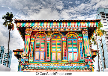 Singapore Landmark: Colorful building facade in Little India...