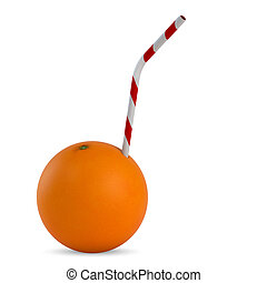 Orange juice - Orange with straw on white background - 3D...