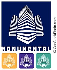 monumental construction - stylized abstract vector...
