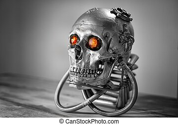 Skull of a human size robot in black and white